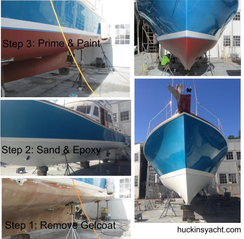 New gel coat on 46' Jarvis Newman
