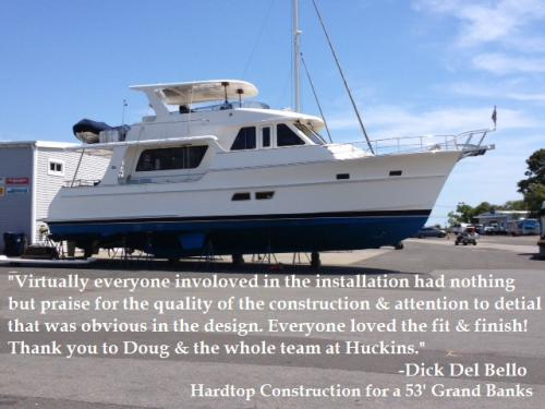 Custom hardtop on 53' Grand Banks is a perfect fit!